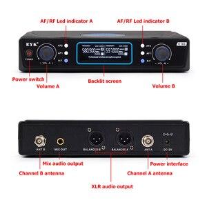 Image 2 - EYK E100 UHF stała częstotliwość 2 kanały bezprzewodowy System mikrofonowy podwójny ręczny mikrofon daleki zasięg dla KTV Karaoke Family Party