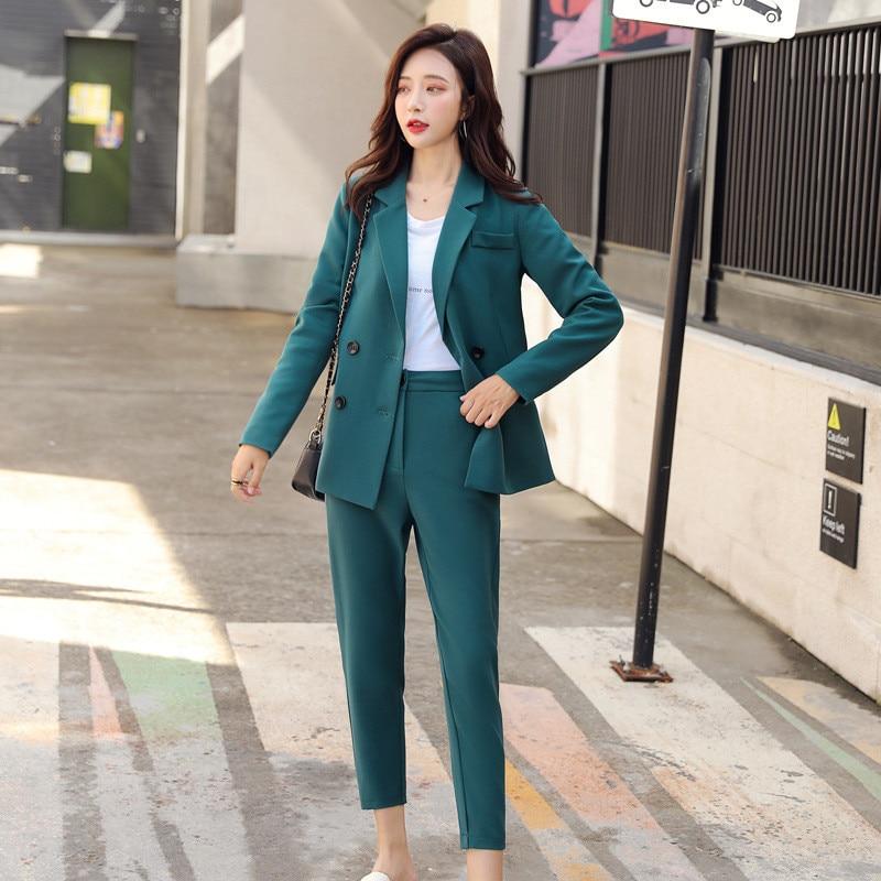 Women's Suit Two-piece Suit (jacket + Pants) Women's Casual Double-breasted Suit Women's Business Office Formal Business Wear
