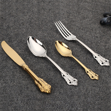 4PCS Retro Tableware Set Openwork Carving Knives Forks Spoons Dinner Stainless Steel Kitchen Dinnerware Party