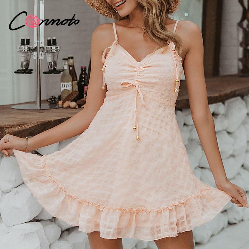 Conmoto Ruffles Pink Chiffon Sexy Dresses Women Beach Summer 2020 Casual Ladies Backless Dress Boho Female Robe Vestidos