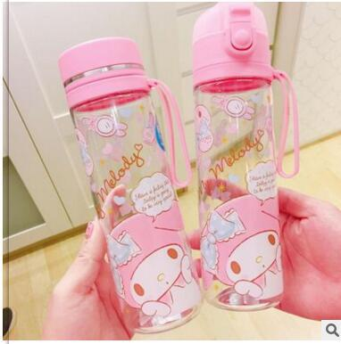 A melodia rosa bonito minha melodia grande capacidade de vidro meng estudante portátil de vidro sub-com tampa garrafa portátil