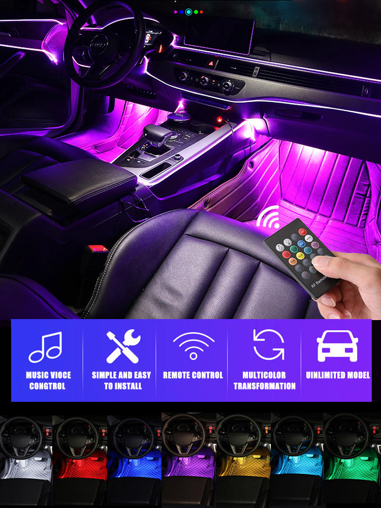 Ambient-Lamp Interior-Decorative-Lights Remote-Music-Control Automotive Multiple-Modes