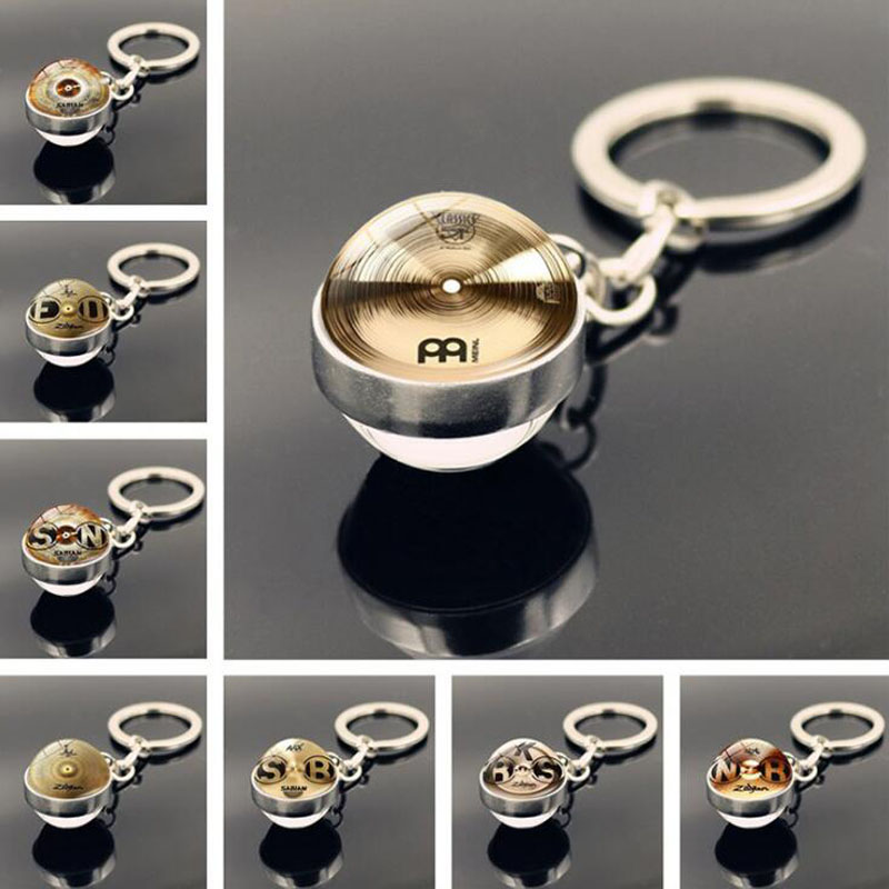 WG 1pc DJ Drummer Cymbals Keychain Time Jewel Cabochon Keychain Pendant Metal Glass Ball Keyring Jewelry For Music Fans image