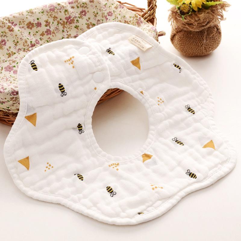 Baby Bibs 360 Degree Rotation 8 Layers Gauze Muslin Baby Kids Bandana Burp Cloth Soft Newborn Infant Saliva Towel Baby Stuff