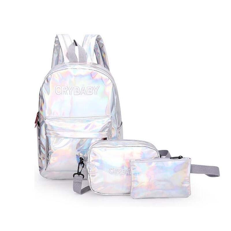 MOONBIFFY Holographic Laser Backpack Embroidered Crybaby Letter Hologram Backpack Set School Bag 3pcs