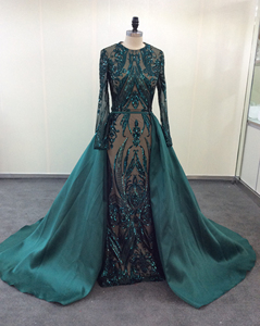 Image 3 - Green Sparkly Sequin Evening Dresses Long  2020 Mermaid Full Sleeves Detachable Train Saudi Arabic Women Formal Party Prom Gown