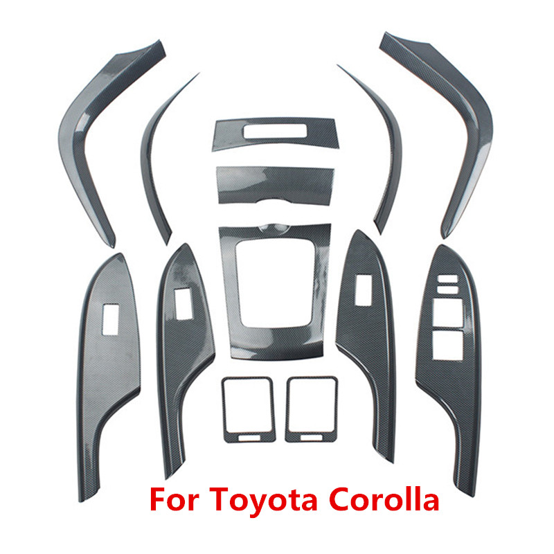 Carbon Fiber Printed Car Center Outlet AC Control Panel Cover Steering Wheel Trim For Toyota Corolla 2007 - 2010 2011 2012 2013