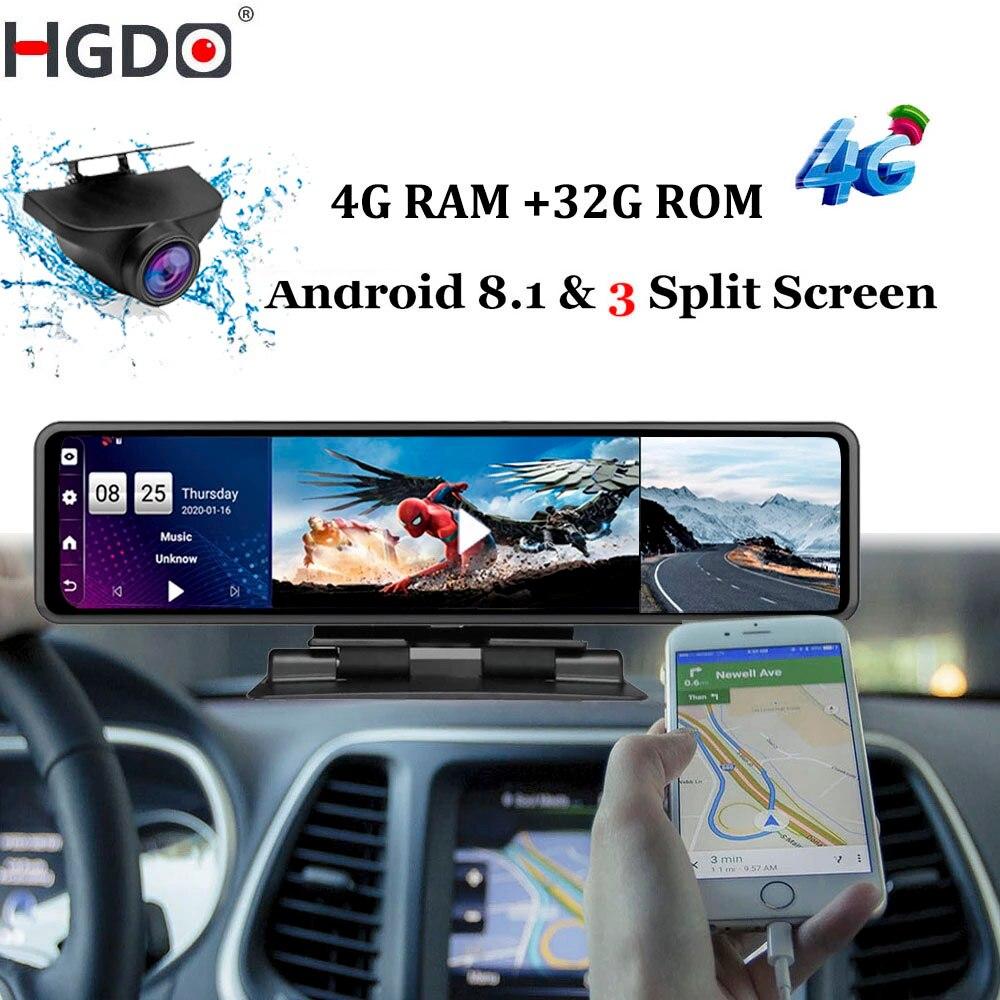 HGDO, 12 ''4G Видеорегистраторы для автомобилей приборной панели Камера Android 8,1 4 Гб + 32 ГБ, GADAS зеркало заднего вида видео Регистраторы 1080P Wi-Fi GPS Даш...
