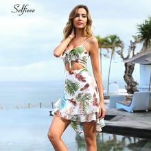 Boho Multicolor Tropical Print Summer Dress Women 2019 Sexy V Neck Spaghetti Strap Casual Beach Holiday Vacation Dresses Ruffles