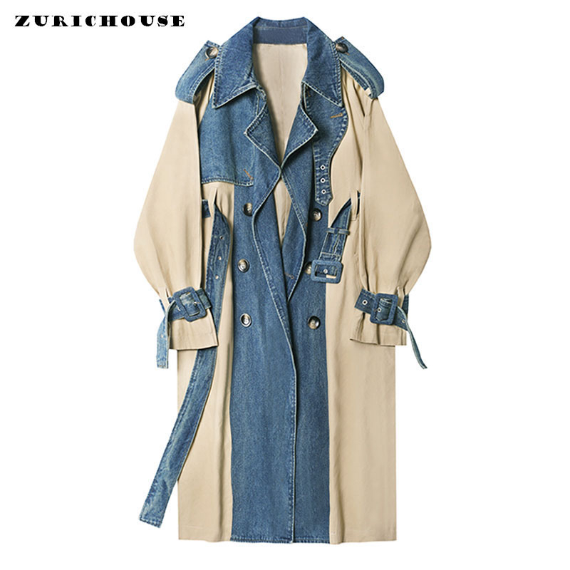 ZURICHOUSE 2020 Long Coat Woman Fashion Denim Patchwork Windbreaker Spring Temperament Double-breasted Sashes   Trench