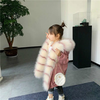 New 2019 Winter Children Parka Coat Long Style Warm Faux Fur Boy Coat Baby Thickened Coat Girls Jacket Mother and Daughter,#5414