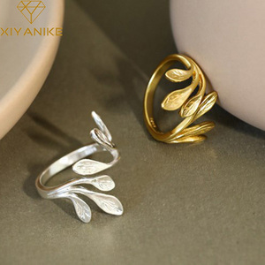 XIYANIKE 925 Sterling Silver Korean Fashion INS Olive Leaf Ring Female Minimalist Trend Unique Design Open Ring Handmade Jewelry