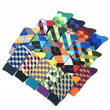 2020 Hot Sale Casual Men Socks New Socks fashion design Plaid Colorful happy Business Party Dress Cotton Socks Man mens gifts