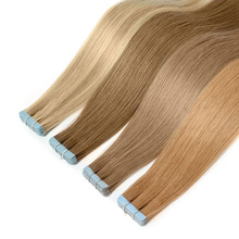 Human-Hair-Extensions Blonde Luxy Seamless Natural Skin-Weft Beauty-Tape Remy Brown Black