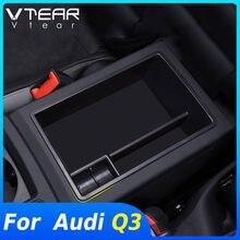 Vtear para Audi Q3 F3 2020 2019 accesorios para el coche accesorios consolas compartimento de almacenamiento de apoyabrazos Central organizador del Interior piezas de modificación