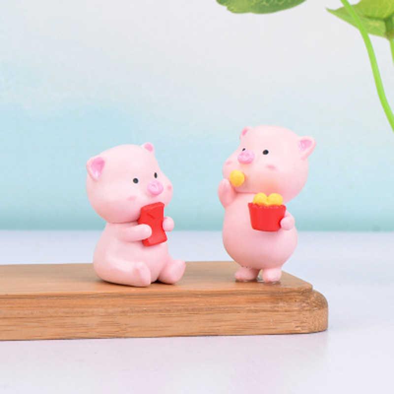 Simpatica mascotte Fortuna maiale Micro Paesaggio Craft Miniature FAI DA TE Mini Piccoli Ornamenti Modello Figura Giocattolo per i bambini il regalo della decorazione della casa 1PC
