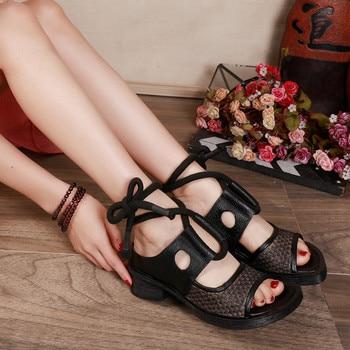 Retro Gladiator Sandals For Women Genuine Leather Heel Lady Platform Sandals Summer 2020 New Hemp Rope Woven Shoes Women Sandals