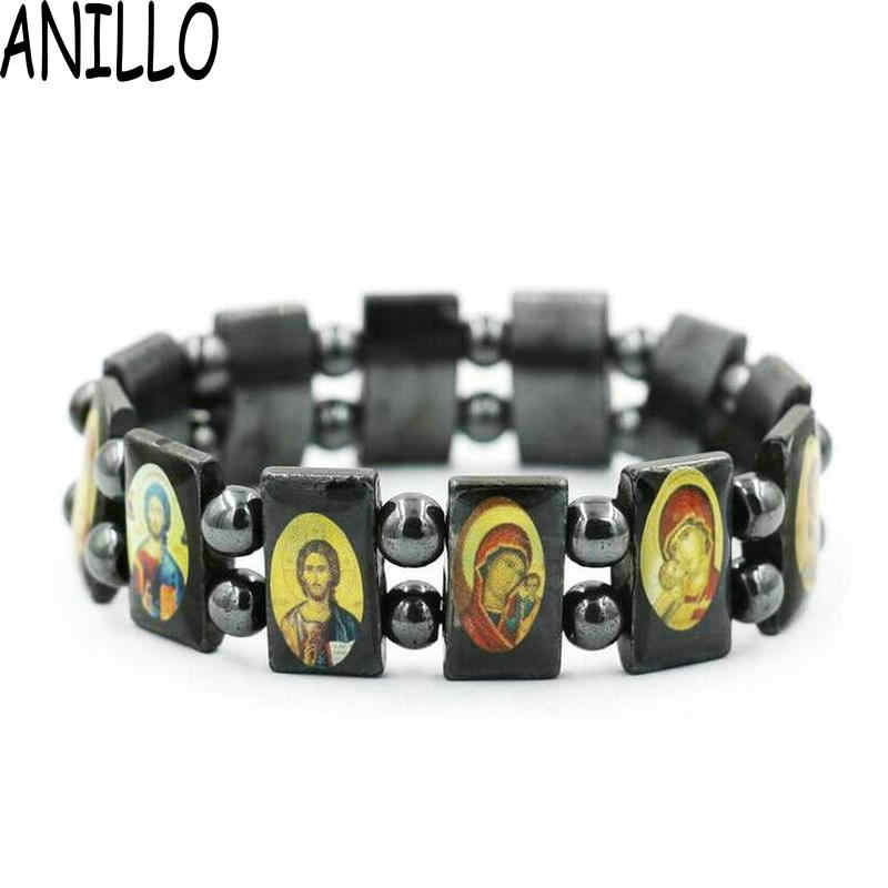 ANILLO  Hematite Beads Depicting Jesus Holy Saints messiah Christian Religious who Bracelets, Free Shipping