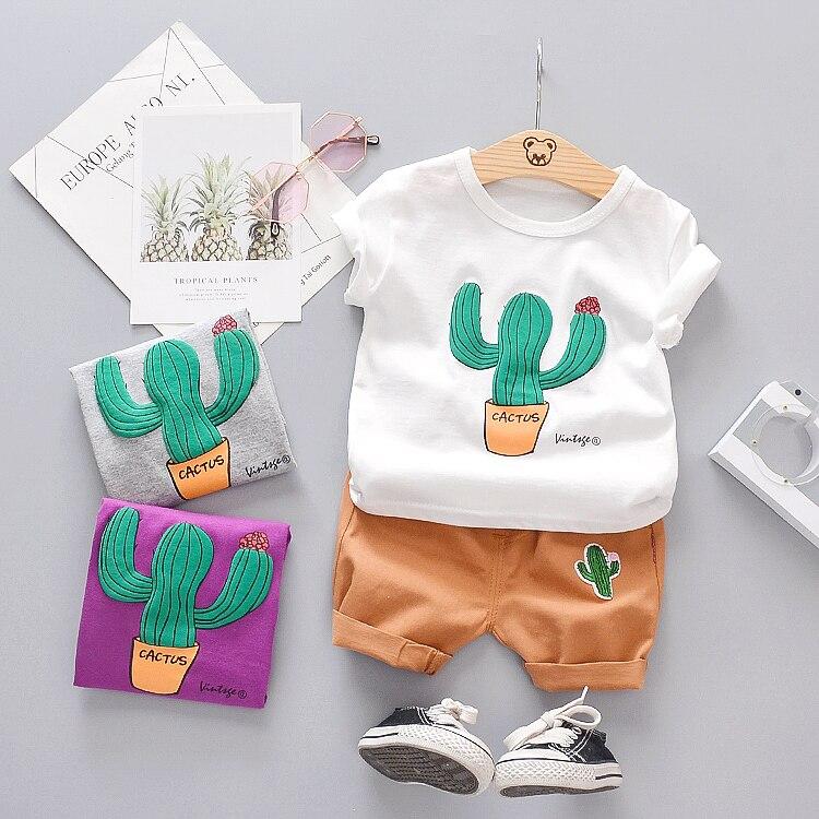 Boys Summer Clothing Toddler Boy 2020 Short Clothes Cactus O-neck T-shirt + Shorts Sets Baby Kids Clothes 1-4 Years