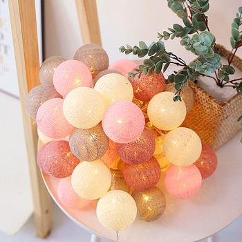 Łańcuchy świetlne bawełniane kulki girlanda żarówkowa LED łańcuchy świetlne bajkowe oświetlenie bożonarodzeniowe Navidad łańcuch świetlny lampa Garland Wedding Party Decoration tanie i dobre opinie QYJSD Piłka CN (pochodzenie) Cotton Balls String Lights Suche baterii Cotton thread 10LEDs 20LEDs 40LEDs 1 5m 3m 4 5m 6m 7 5m