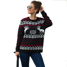 2019 Snowflake Deer Print Christmas Women's Sweaters Long Sleeve Warm Winter Basic Pullover Female Jacket Red Green Jersey Mujer father christmas and snowflake print long sleeve hoodie