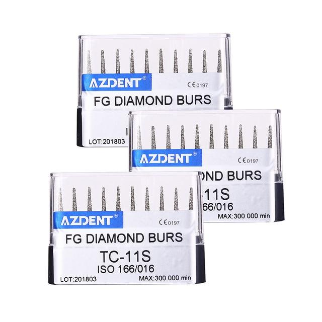 AZDENT 10 pcs/set Dental Diamond Burs Drills High Speed Handpiece Polishing Whitening Product TC-11S  Dental High Speed Burs 2