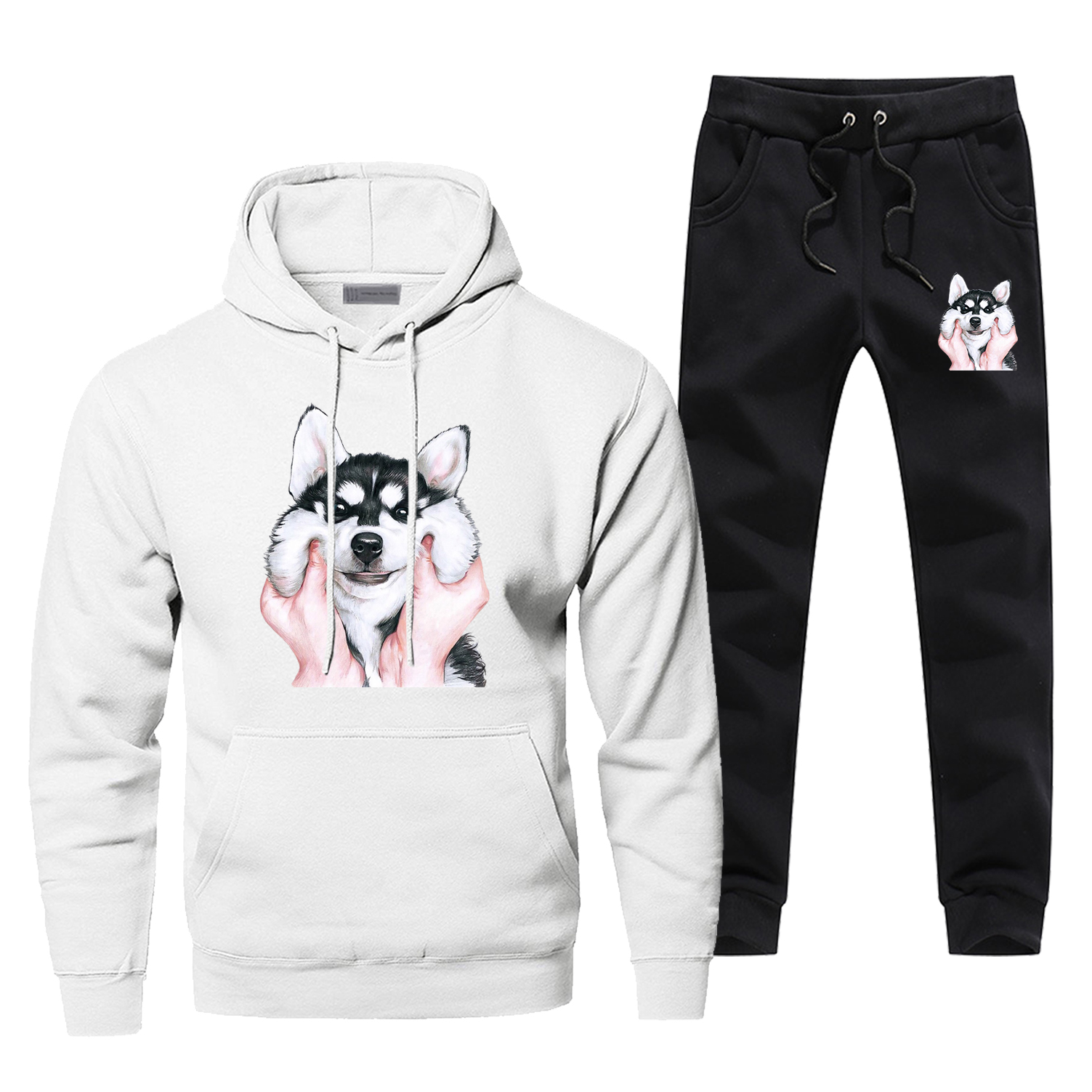 2019 Winter Lovely Dog Print Men's Sets Casual Funny Husky Sportsman Wear Pets Fashion Pants Sweatshirts Warm Animal Sweatpants