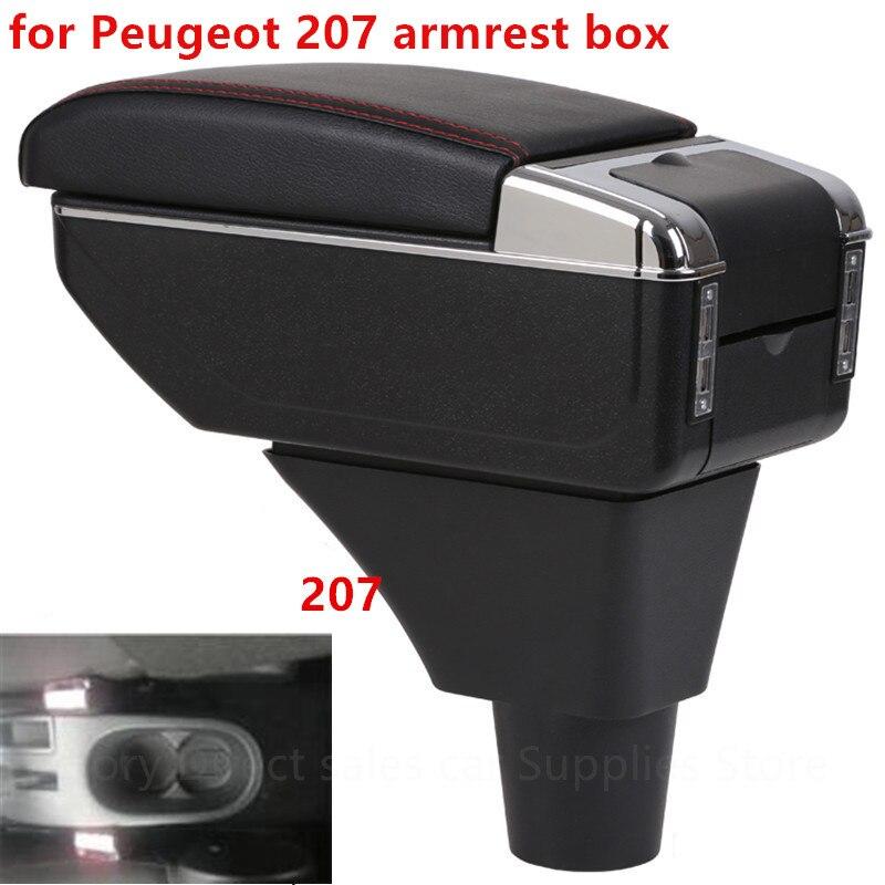 Для peugeot 207 подлокотник коробка USB зарядка увеличение двойной слой центральный магазин содержание Подстаканник Пепельница аксессуары