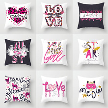 цены Pink Leopard Pattern Soft Cushion Cover   Simple English Printed Leisure Office Bench Fluffy Decorative Letter Pillowcase