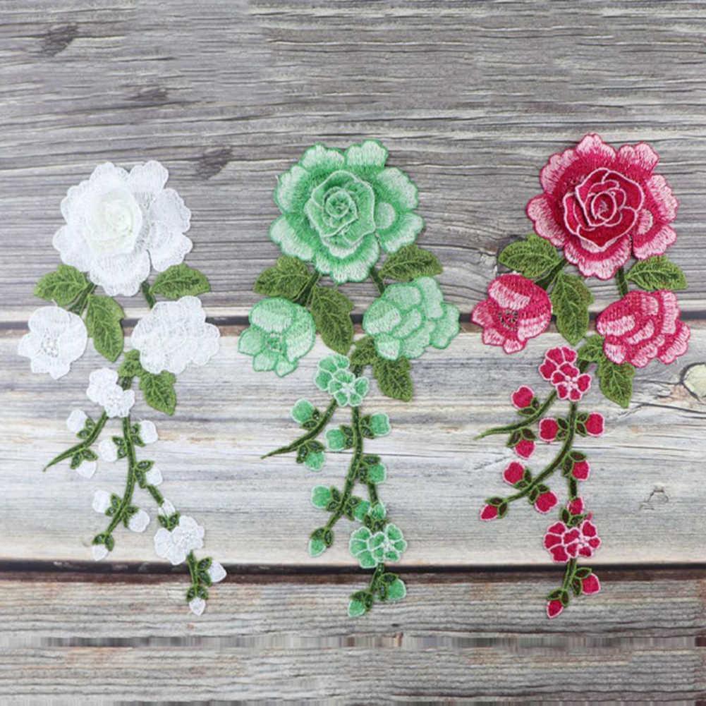 1 قطعة الخياطة على بقع زهرة الورد المطرزة ملصقات القماش بقع النسيج زين لوازم النمط الصيني بقع الحرفية DIY بها بنفسك