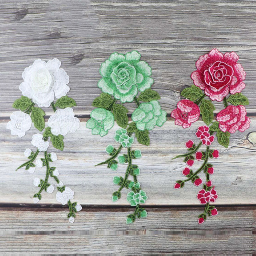 1pc Sewing On Patches Rose Flower Embroidered Cloth Stickers Fabric Patches Applique Supplies Chinese Style Patches Craft DIY