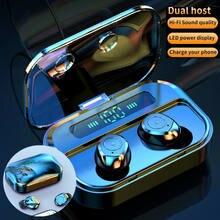 Fone de ouvido bluetooth 5.0 tws gêmeos fones de ouvido sem fio 5d estéreo mini earbud com microfone duplo headfree