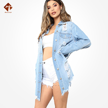 Blouse Oversized Long Outwear Detail-Shirts Washed-Fringe Ripped Womens Plus-Size Summer