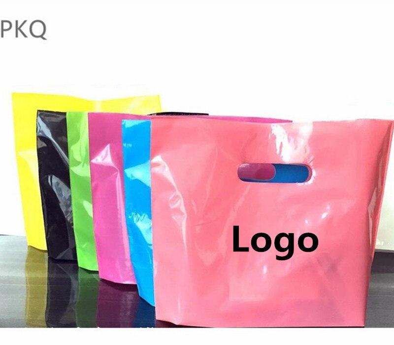 Impression en gros Logo sacs en plastique petits sacs-cadeaux avec poignées Shopping emballage sacs personnaliser Logo sac fête fournitures 300 pièces