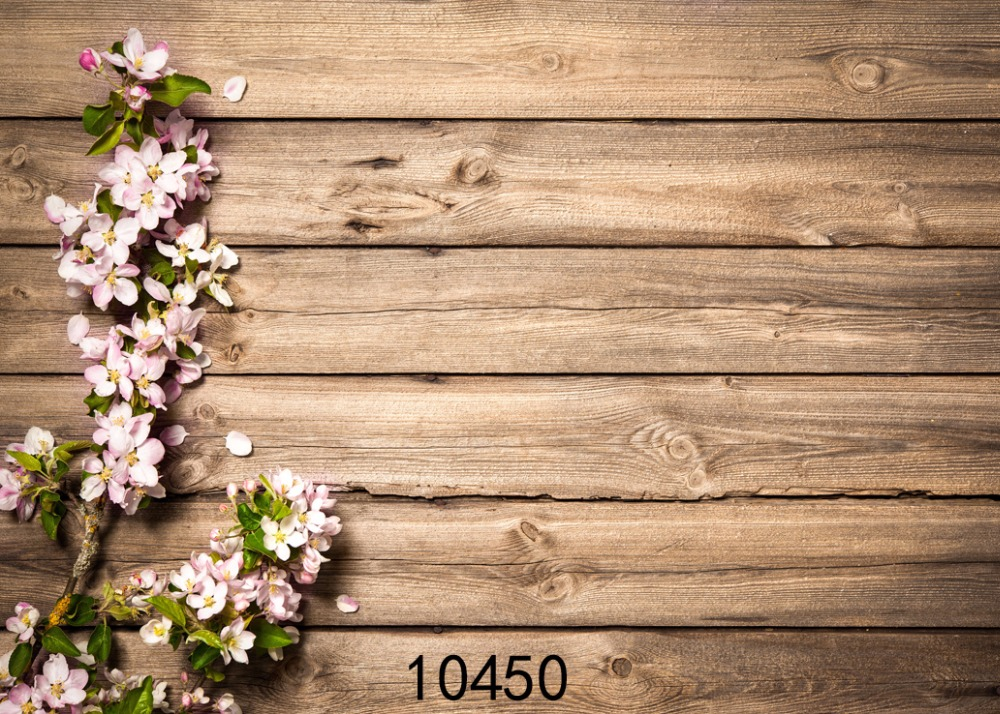 SHUOZHIKE Vinyl Custom Photography Backdrops Prop Cherry blossoms&Board Theme Digital Photo Studio Background 10450 image