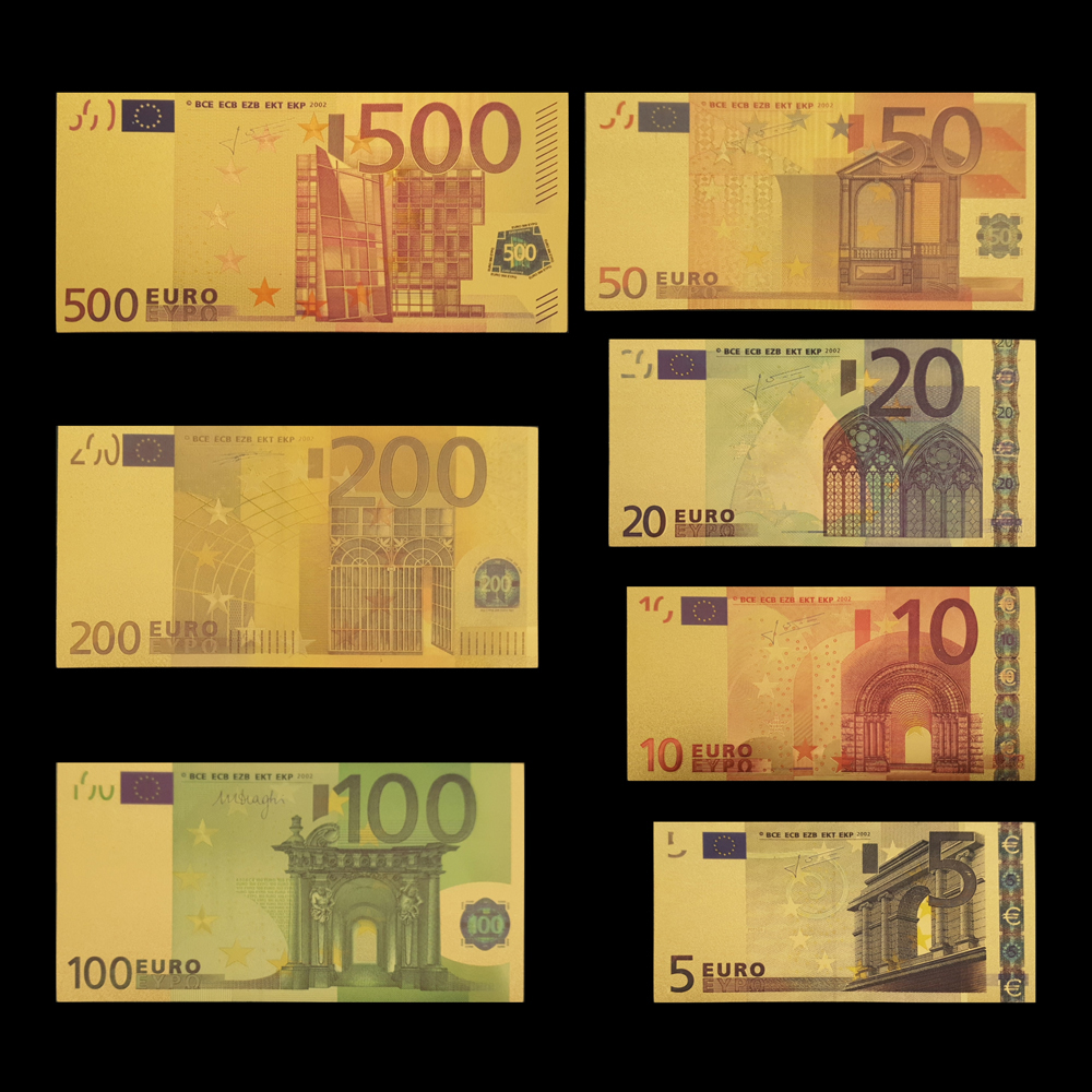 RH 7pcs/lot 5 10 <font><b>20</b></font> 50 100 200 500 EUR Gold <font><b>Banknotes</b></font> in 24K Gold Fake Paper Money for Collection <font><b>Euro</b></font> <font><b>Banknote</b></font> Sets image
