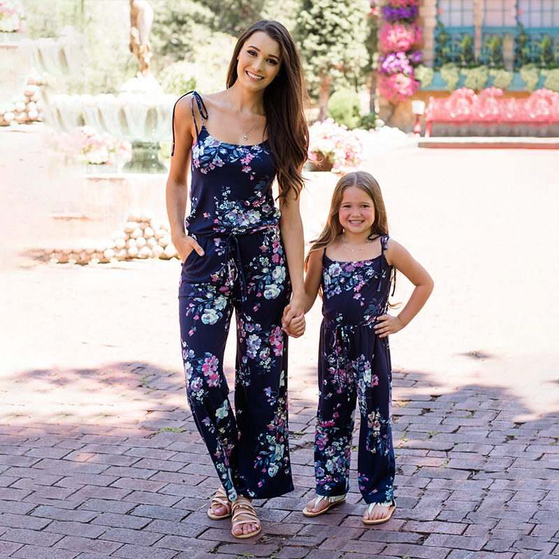 Mommy And Me Clothes Family Matching Outfits Autumn 2019 Mom And Daughter Dress Girl Navy Blue Floral Jumpsuit Baby Girl Clothes