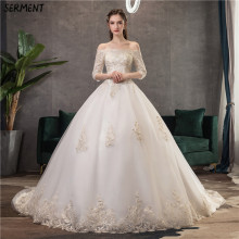 SERMENT Wedding Dress One-shoulder Seven-point Sleeve Lace Sexy Bride