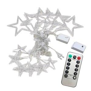 Image 5 - Ac110v 또는 220 v 휴일 조명 led 요정 조명 스타 커튼 문자열 luminarias 갈 랜드 장식 크리스마스 웨딩 라이트 3 m