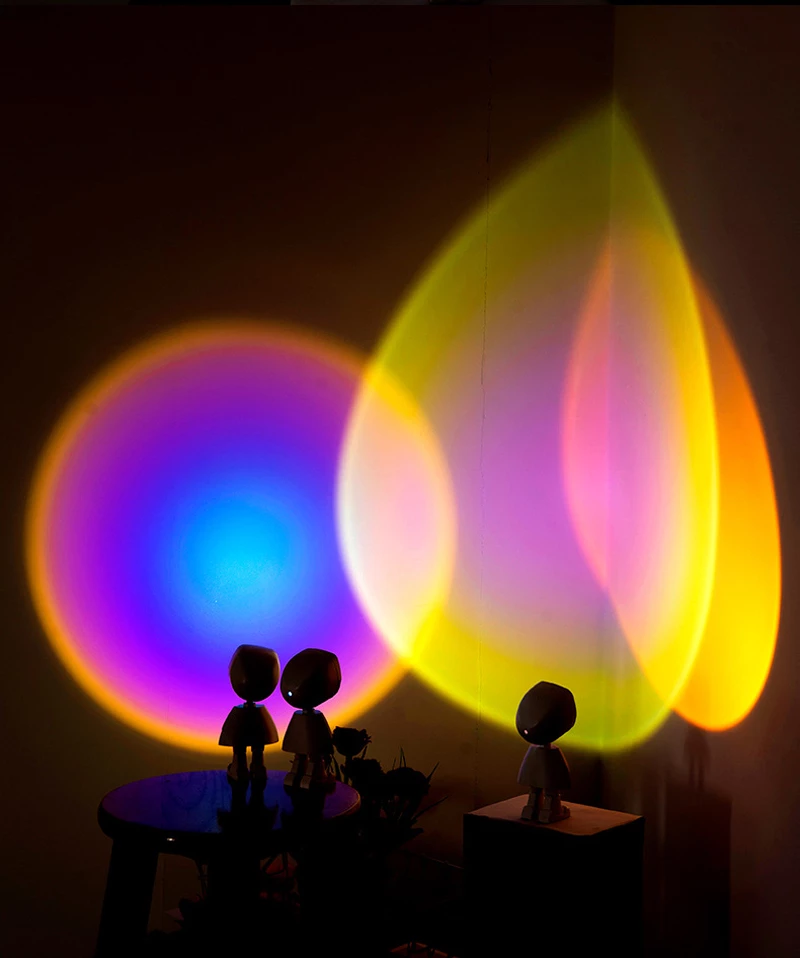 Robot Atmosphere Light 360° Sunset Red Lamp Stepless Dimming Projector Night Lamp Network Red Selfie Light For Wall Decoration 1