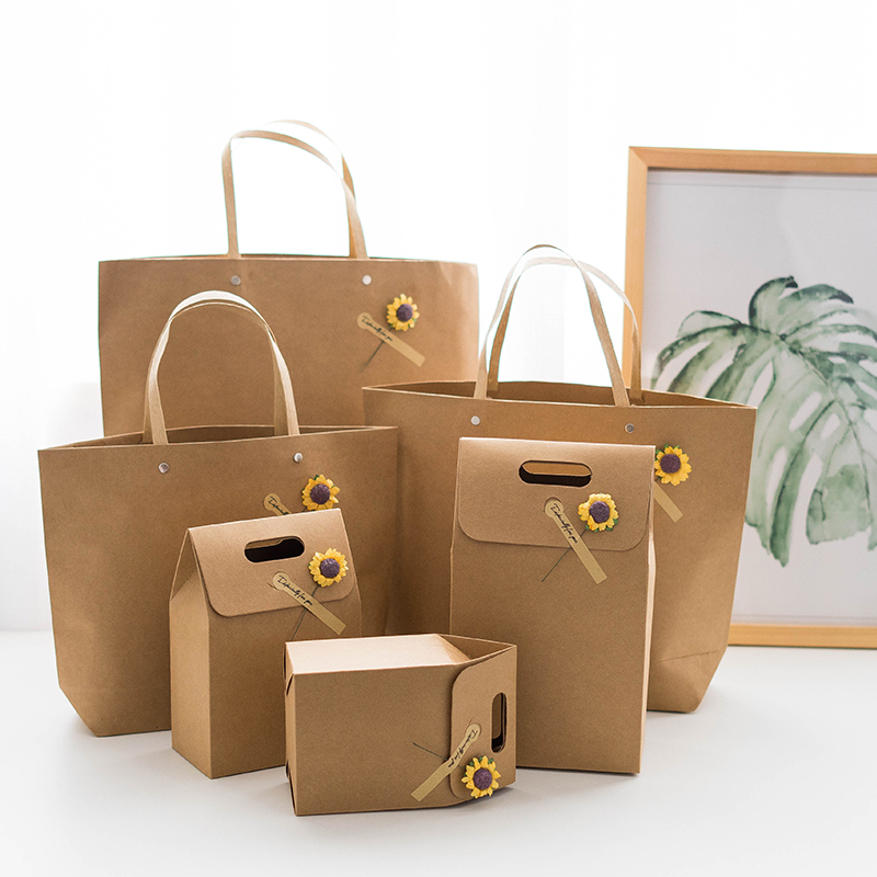 Large Capacity Gift Bag Gift Box Leather Color Retro Diy Portable Paper Bag Packaging Clothing Business Bag Paper Bag Accessorie