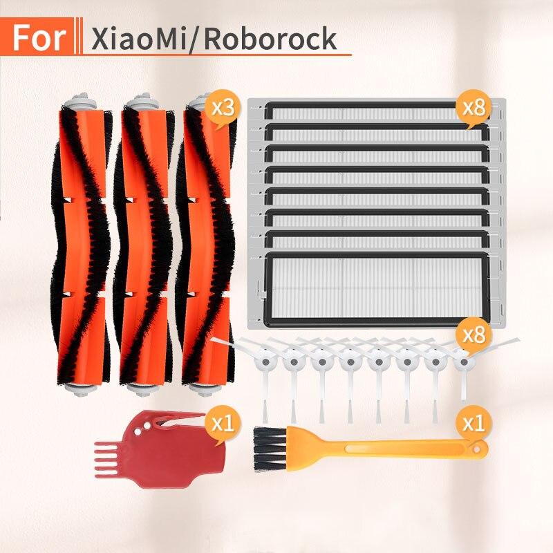 21 Pcs Vacuum Cleaner Side Brush Main Brush Filter Accessories For Xiaomi Mi 1 2 Roborock S6 S50 S51 Robot Vacuum Cleaner Parts