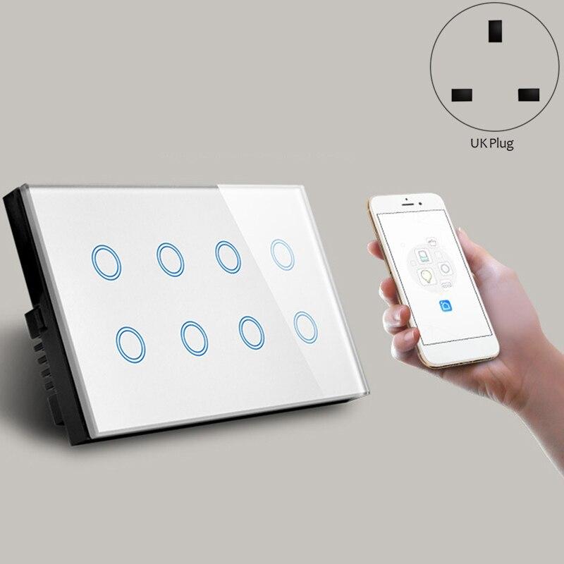 Uk plug, wifi inteligente imprensa interruptor de