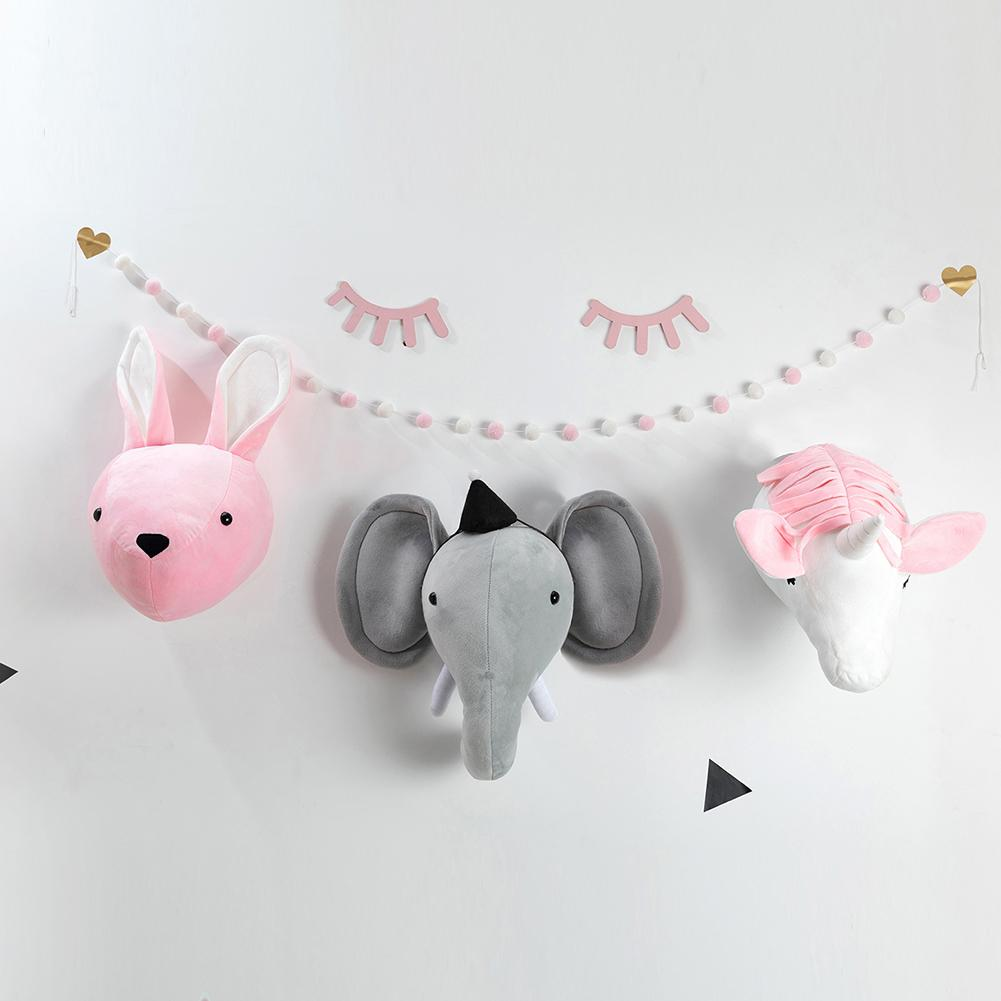 Children's Room Ornaments Plush Toy Elephant Rabbit Toy Head Nordic Plush Decorative Wall Hanging Animal Head Decoration