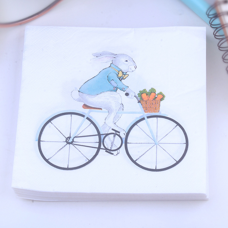 Factory Sale Mashimaro Printed Napkin Bicycle Pattern Paper Placemat Tissue Hotel Napkin Customizable 20