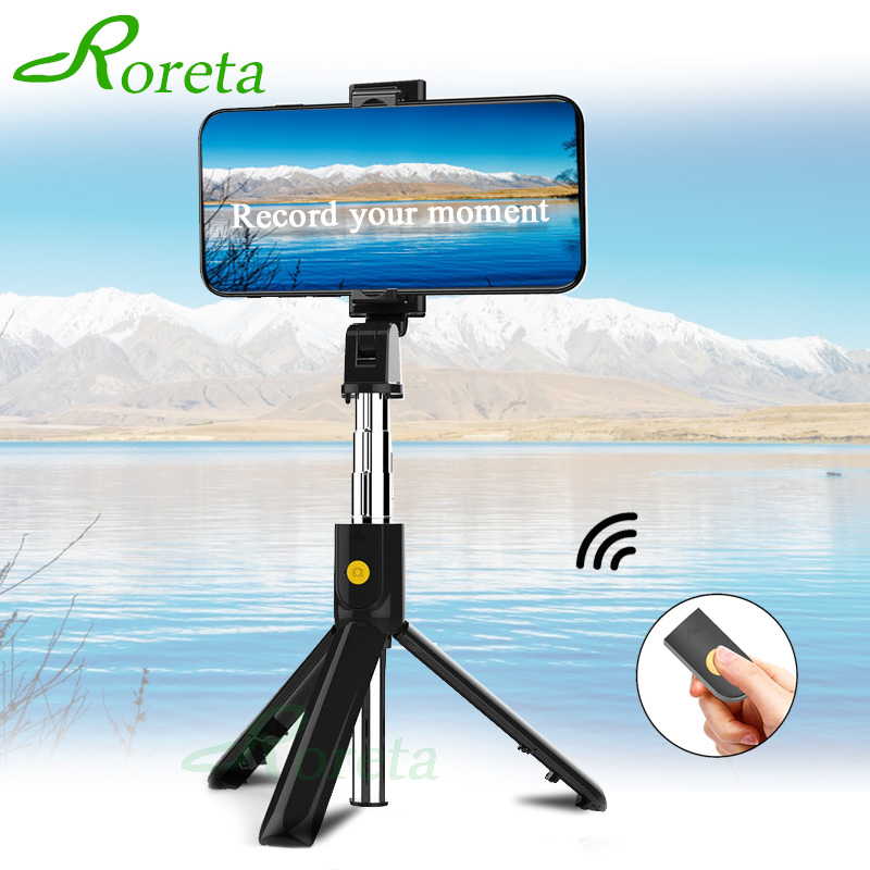 Roreta 2019 New 3 In 1 Wireless Bluetooth Selfie Stick Extendable Handheld Monopod Foldable Mini Tripod With Shutter Remote