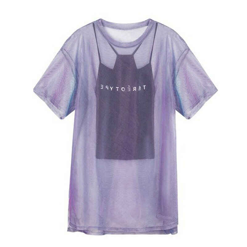 Trendy Women Transparent Mesh T-Shirt Short Sleeve Tee Tops Cover up + Camisole Vest Top Female Casual Summer Tops Outfits