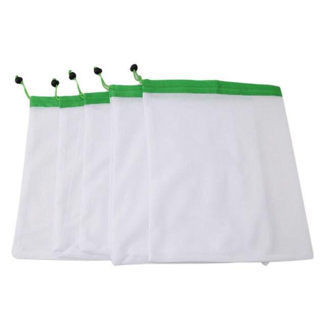 5pcs Reusable Mesh Vegetable Storage Bag Kitchen Fruit Pocket Drawstring Grocery bag Eco Shopping Tote Bag Food Container 5
