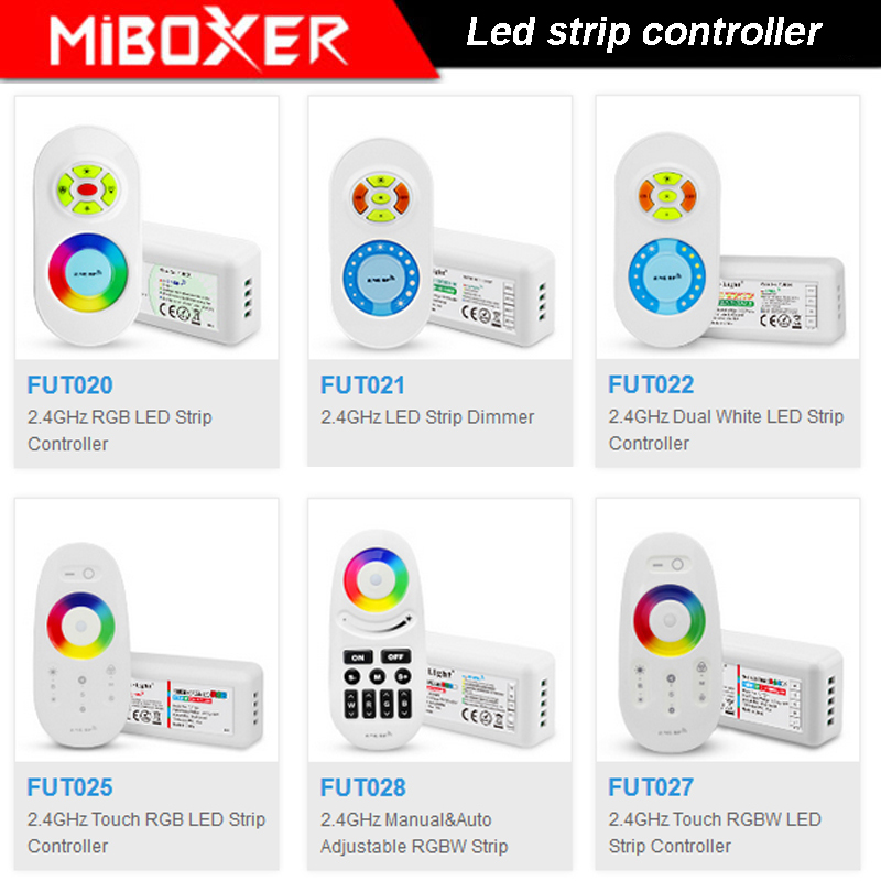MiBOXER 2.4G Wireless RF LED Strip Dimmer Touch Dual White/RGB/RGBW LED Strip Controller DC12V-24V image