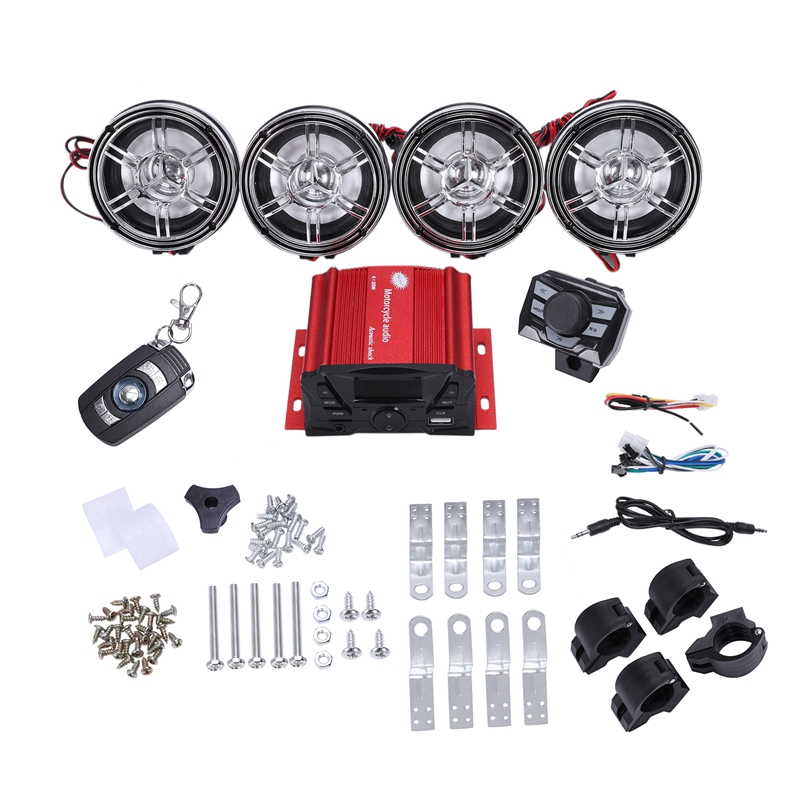 3 Inch Motorcycle Waterproof Bluetooth Speakers 4 Channel Amplifier Mp3 Music Sound Audio Stereo Amp System